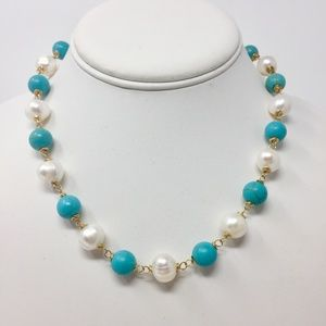 COMING SOON....Turquoise & Pearl Necklace